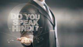Usted habla tecnologías disponibles de Hindi Businessman Holding las nuevas stock de ilustración