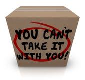 Usted linado le toma con usted palabras que la parte de la caja de cartón dona Fotos de archivo libres de regalías