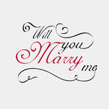 Usted me casará caligrafía de las letras Imagenes de archivo