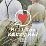 Usted me casará concepto de Valentine Romance Love Heart Dating fotografía de archivo libre de regalías