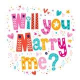 Usted me casará tipografía retra que pone letras al texto decorativo para diseñar Foto de archivo libre de regalías