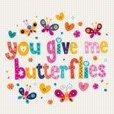 Usted me da mariposas tarjeta Imagen de archivo libre de regalías