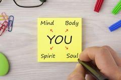 Usted palabras del concepto del alcohol del alma de la mente del cuerpo fotografía de archivo libre de regalías