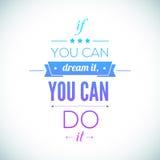 Usted puede hacerlo cartel tipográfico de la cita, vector Fotos de archivo
