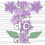Usted puede hacerlo - mano dibujada poniendo letras a cita libre illustration