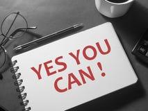Usted puede sí, concepto de motivación de las citas de las palabras foto de archivo libre de regalías