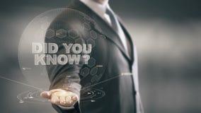 ¿Usted sabía? Tecnologías disponibles de Holding del hombre de negocios nuevas ilustración del vector