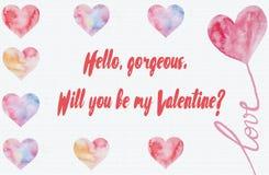 Usted será mi plantilla de la tarjeta del día de San Valentín Foto de archivo