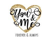 ` Usted y yo cartel inspirado de la motivación de las letras del ` Imagen de archivo libre de regalías