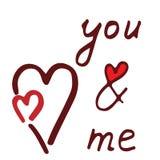 Usted y yo letras con el corazón rojo Fotografía de archivo