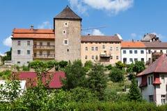 Ustek slott i staden, Tjeckien, Europa Arkivfoton