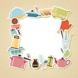 Ustensiles, appareils et cookware de cuisine dessus Photos stock