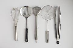 Ustensiles de cuisine d'acier inoxydable images libres de droits