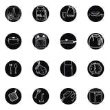 Ustensiles de cuisine et icônes noires et blanches tirées par la main de cookware réglées Illustration Stock