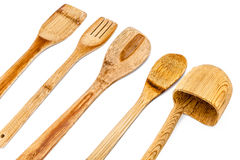 Ustensiles en bois de cuisine Images libres de droits