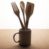 Ustensiles en bois de cuisine Image stock