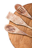 Ustensiles en bois de cuisine d'isolement Photos libres de droits