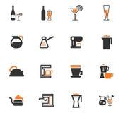 Ustensiles pour la préparation des icônes de boissons Photos stock