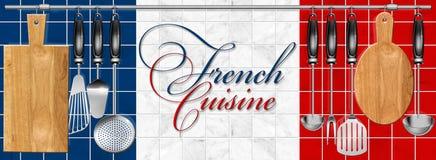 Ustensiles réglés de cuisine de cuisine française Image libre de droits