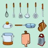 Ustensiles tirés par la main de cuisine de croquis de griffonnage pour Image stock