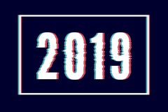 Usterka Szczęśliwego nowego roku abstrakcjonistyczny literowanie, typografia z wykoślawienie skutkiem, pluskwa, błąd, przypadkowy royalty ilustracja