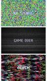 Usterki tekstury piksla hałas Próbny TV ekranu Cyfrowego VHS tło Set błędu komputeru wideo Abstrakcjonistyczna czerni szkoda ilustracji