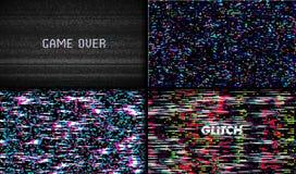 Usterki tekstury piksla hałas Próbny TV ekranu Cyfrowego VHS tło Set błędu komputeru wideo Abstrakcjonistyczna czerni szkoda ilustracja wektor