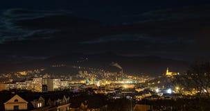 Usti nad Labem horisont på natten Arkivbilder