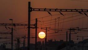 Usti nad Labem railway with sunset Stock Image