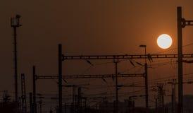 Usti nad Labem railway with sunset Royalty Free Stock Image