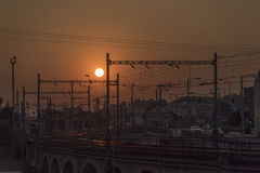 Usti nad Labem railway with sunset Royalty Free Stock Photos