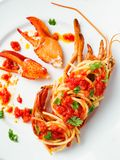 Ustic italian lobster spaghetti Stock Images