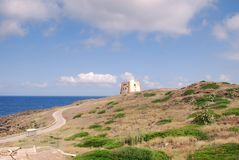 Ustica - een mening van Punta Spalmatore stock foto