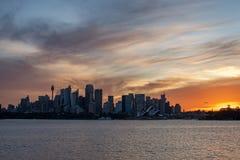 Ustione del cielo di Sydney City su 19 01 2016 Fotografie Stock Libere da Diritti