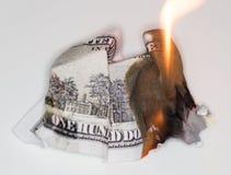 Ustione di 100 USD Fotografia Stock Libera da Diritti