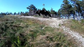 Ustka, Poland, 05-10-2016 artillery position of the German General Bluecher in word war 2.  stock footage