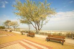 Ustka Polen med strandpromenad Royaltyfria Bilder