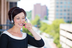 Ustomer service representative or call center agent,support staff, operator with headset Stock Image