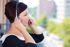 Ustomer service representative or call center agent,support staff, operator with headset Royalty Free Stock Photo