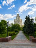 Ustyinsky Square and skyscraper on Kotelnicheskaya embankment in Moscow, Russia Stock Photos