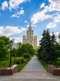 Ustyinsky Square and skyscraper on Kotelnicheskaya embankment in Moscow, Russia Stock Images