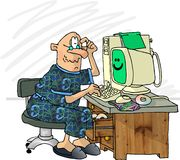 Usuário frustrante do computador ilustração royalty free