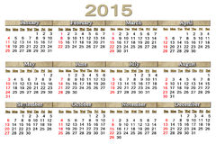 Usual calendar for 2015 year Stock Images