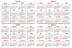 Usual calendar for 2014 - 2017 years Stock Photos