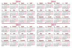 Usual calendar for 2014 - 2017 years. Usual office calendar for 2014 - 2017 years on white background Royalty Free Stock Photos
