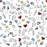 Usual life sketch seamless pattern Stock Photography