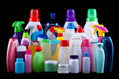 Usual plastic bottles from a household Stock Photography