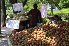 Usual vietnam street market. Plums. Usual vietnam street market. Street trade in exotic fruits in Vietnam Stock Photo