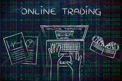Usuario del ordenador en datos verdes y rojos del mercado de acción, con el texto Onli Imágenes de archivo libres de regalías