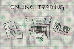 Usuario del ordenador encima de datos del mercado de acción, con tradicional en línea del texto Imagen de archivo